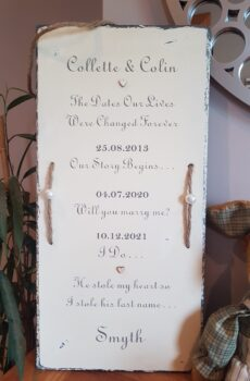 Wedding slate- Dates